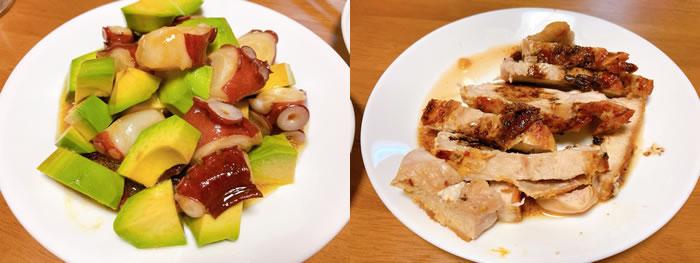 タコとアボカドのサラダと鶏むね肉のじっくり40分焼きバルサミコソース添え